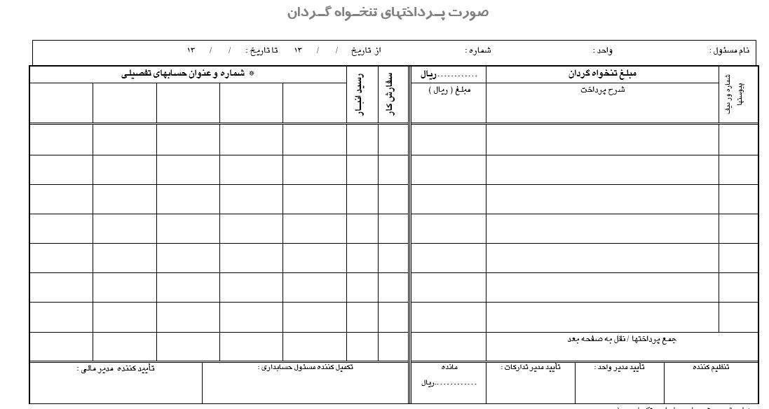 نمونه دفتر تنخواه گردان
